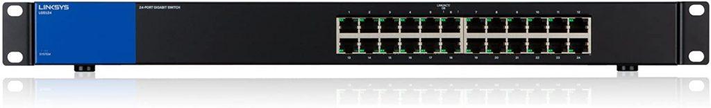Linksys LGS124-EU - Unmanaged Switch Gigabit en Bastidor para Empresas (24 Puertos, detección automática, 1000 Mbps, optimización del Rendimiento, Plug and Play)