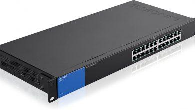 Linksys LGS124-EU - Unmanaged Switch Gigabit en Bastidor para Empresas (24 Puertos, detección automática, 1000 Mbps, optimización del Rendimiento, Plug and Play), Negro